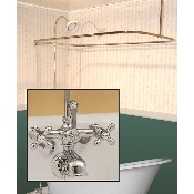 Clawfoot Tub Wall Mount Shower Enclosure Combo w/ British Telephone Faucet