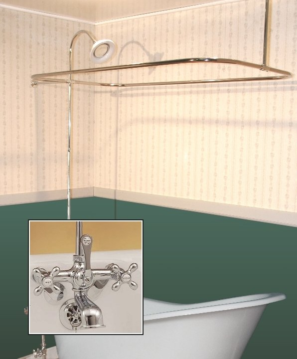 Clawfoot Tub Wall Mount Shower Enclosure Combo W British Telephone Faucet