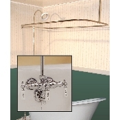 Clawfoot Tub Wall Mount Shower Enclosure Combo w/ Small Spout Faucet