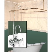 Clawfoot Tub Wall Mount Shower Enclosure Combo w/ Gooseneck Faucet