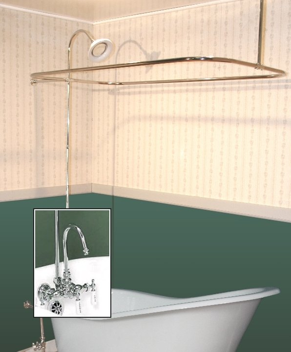 Clawfoot Tub Wall Mount Shower Enclosure Combo W Gooseneck Faucet Classic
