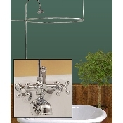 Clawfoot Tub Wall Mount Round Shower Enclosure Combo w/ British Telephone Faucet