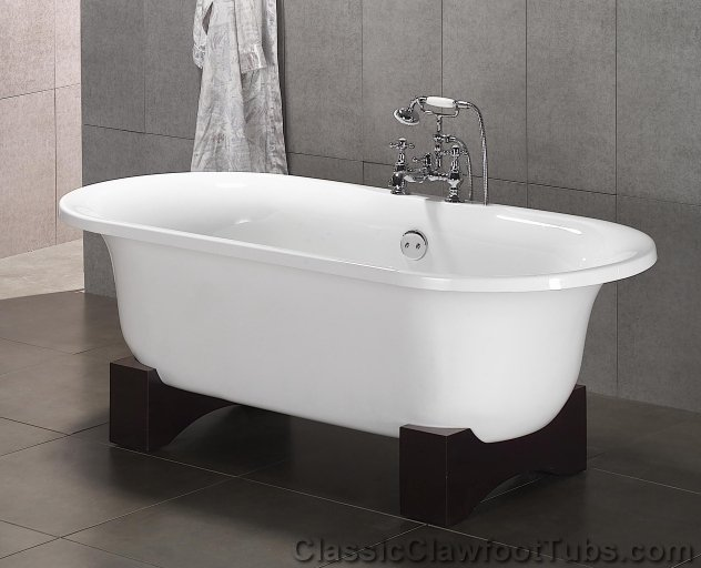 70 acrylic double ended clawfoot tub classic clawfoot tub for Claw foot soaker tub