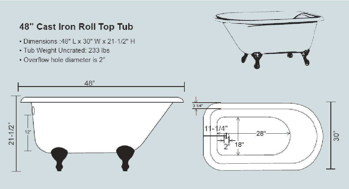 48 inch clawfoot tub. View a Schematic Here 48  Rolled Rim Cast Iron Clawfoot Tub Classic