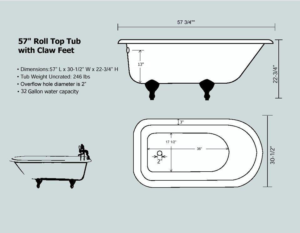 57 u0026quot  rolled rim cast iron clawfoot tub