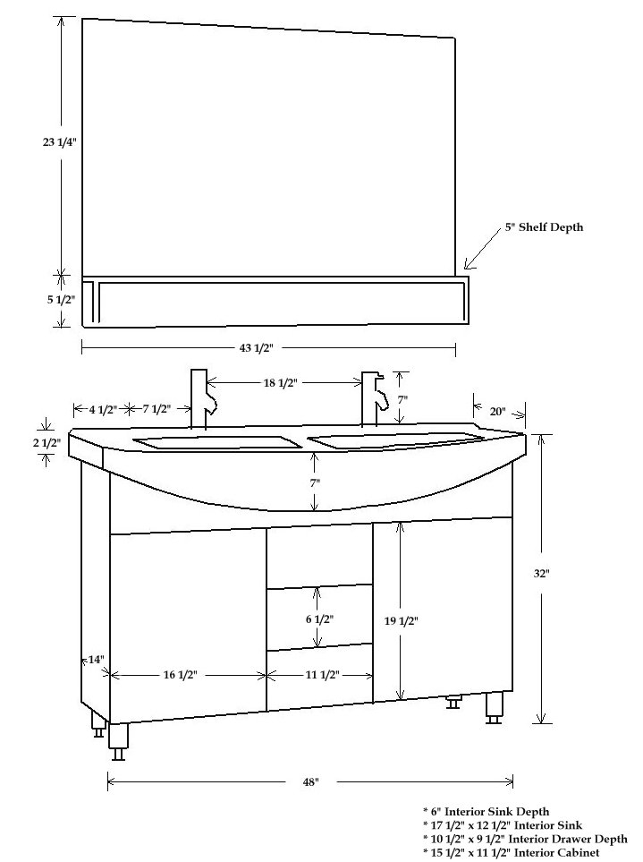 Double sink bathroom vanity cabinet cp van 5040 - Standard bathroom mirror dimensions ...